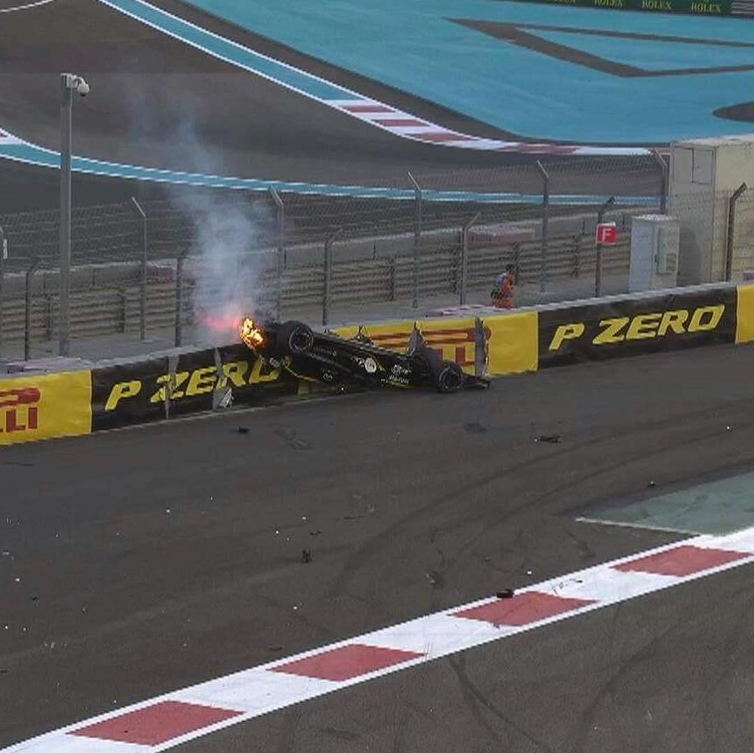 Nico Hulkenberg's car set on fire as it smashed into the hoardings