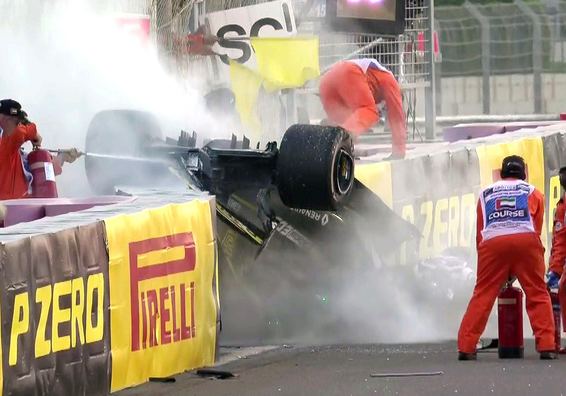 Niko Hulkenberg's car ended up in flames after incident