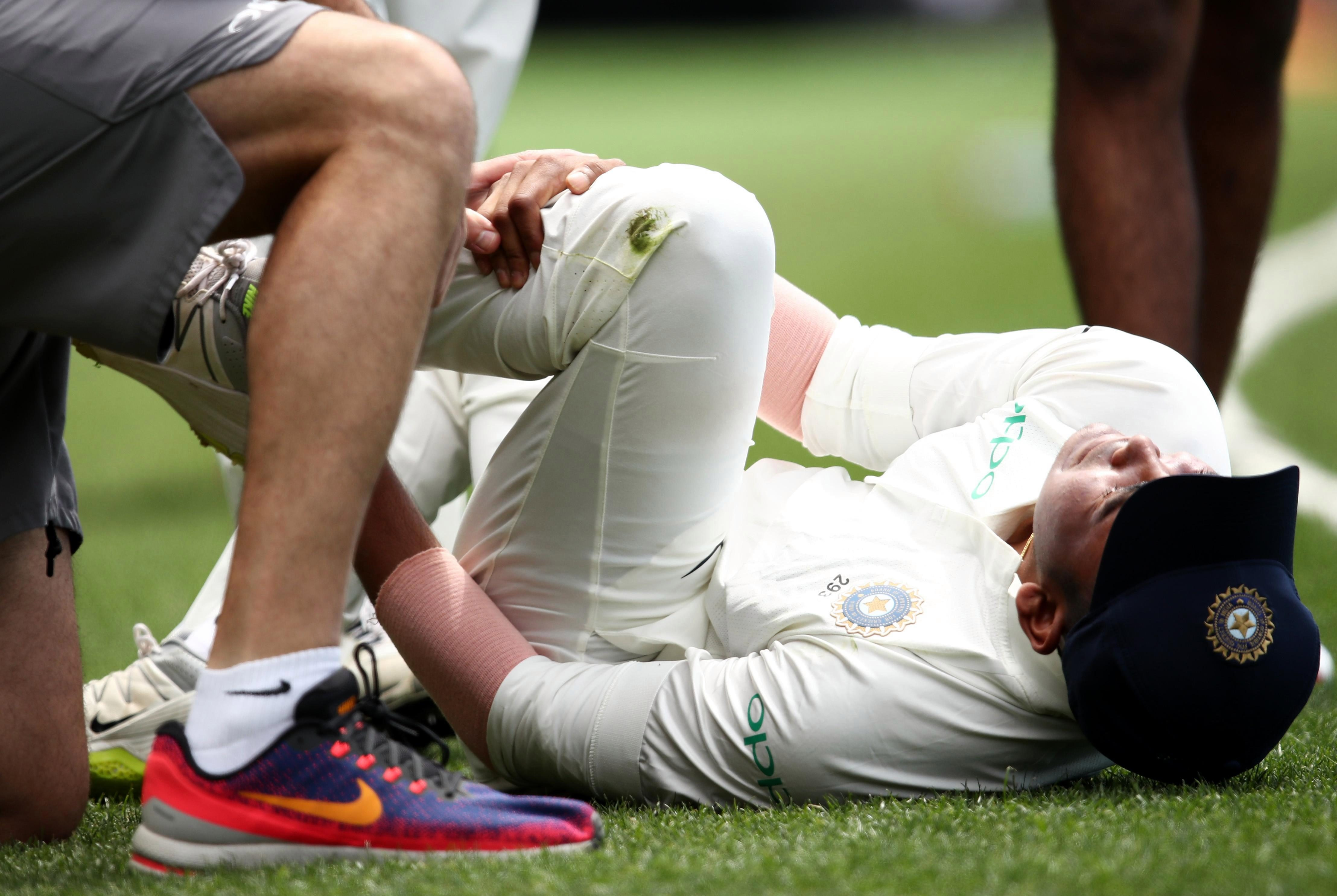 The India star collapsed to the ground in pain after he rolled his ankle