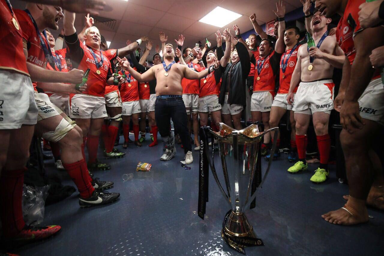 Topless Richard Barrington leads the celebrations for Saracens Murrayfield in 2017