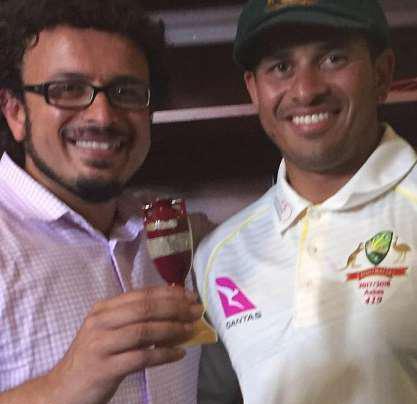 Cricket star Usman Khawaja's brother Arsalan Khawaja, left, has been arrested over a 'terror hit list'