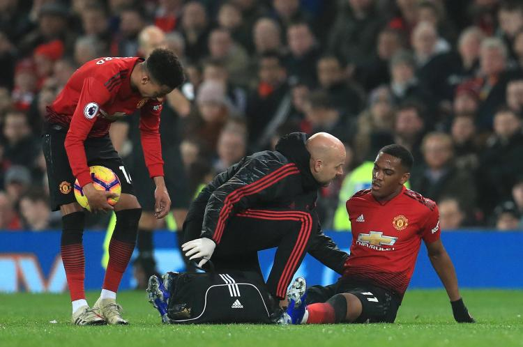 Anthony Martial could miss the game with Fulham through injury