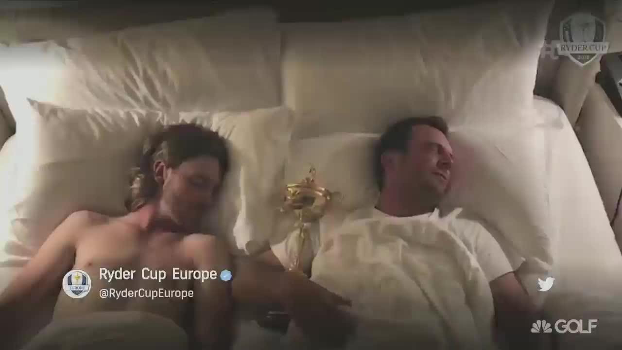 Molinari and Fleetwood were famously pictured in bed together after their starring roles in Europe's crushing Ryder Cup victory