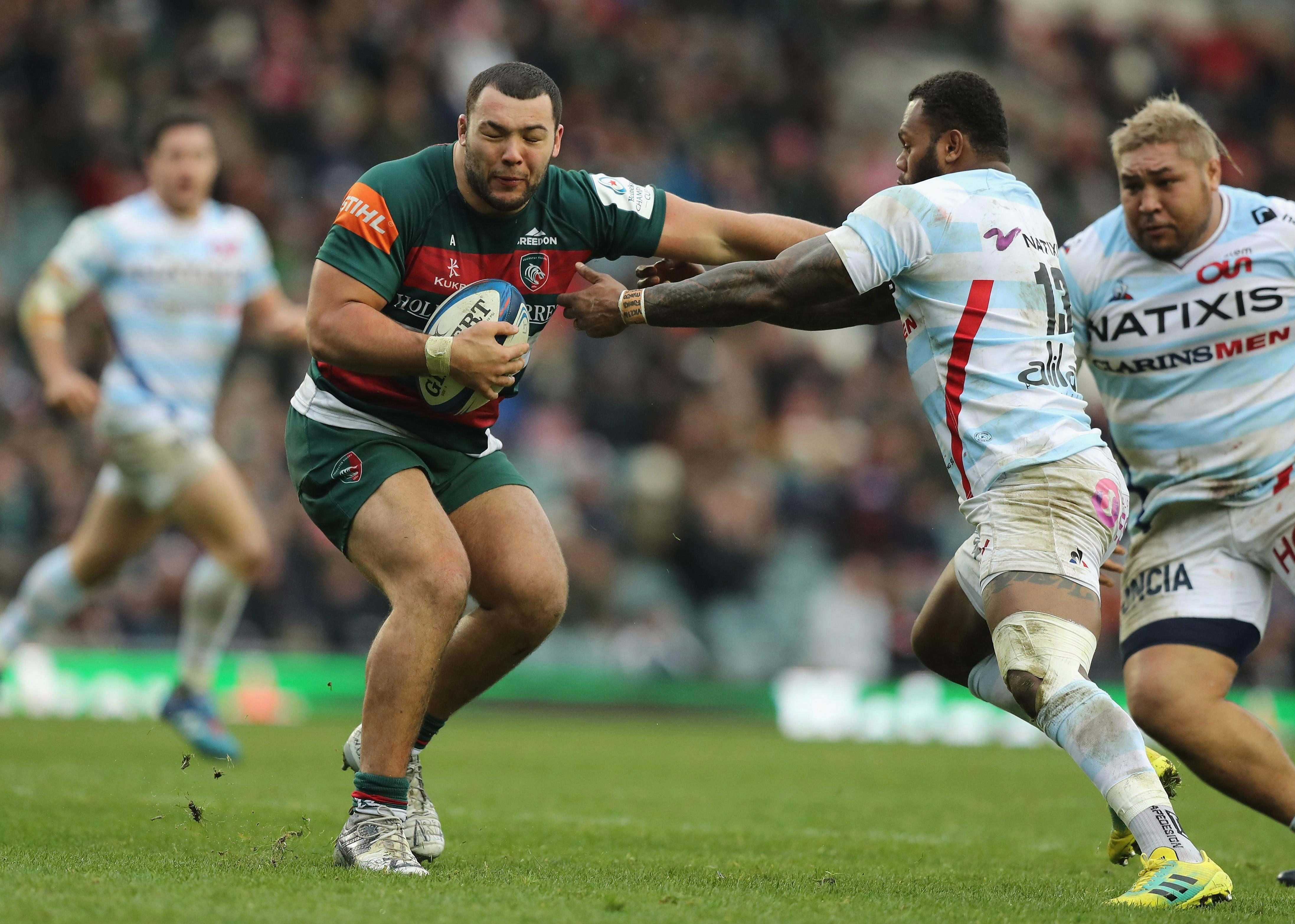 Ellis Genge in action for Leicester Tigers against Racing 92 of France