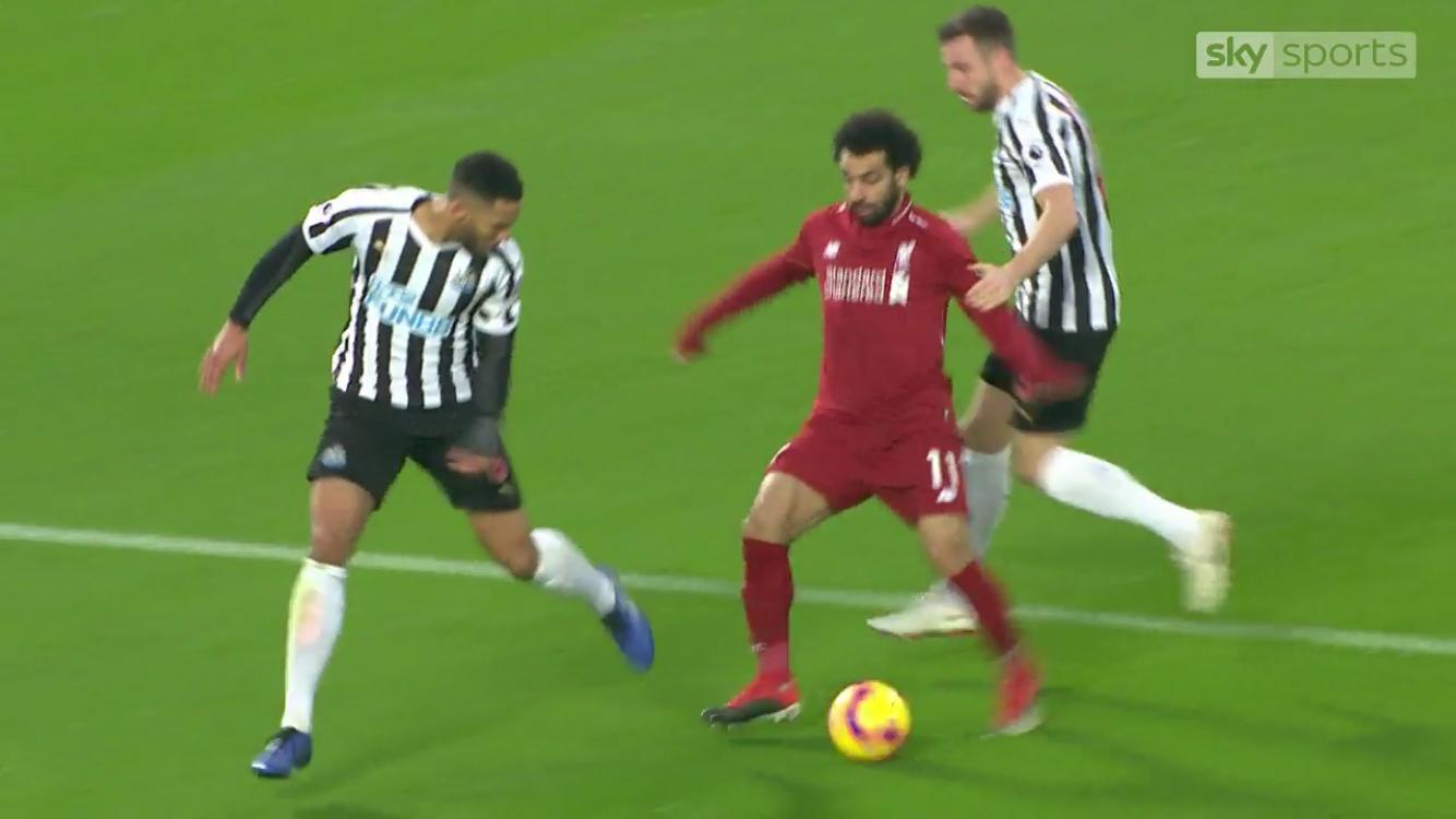 Paul Dummett did appear to make contact with Mohamed Salah, albeit minimal