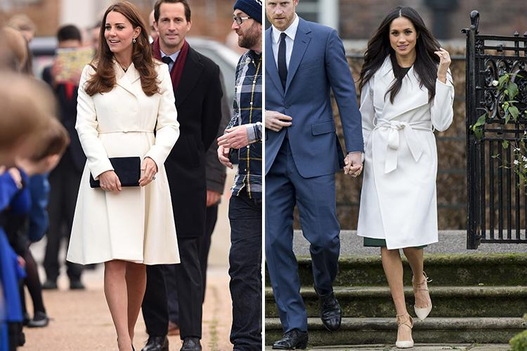 Kate wraps up for visit to Portsmouth in 2015, Meghan in London last year