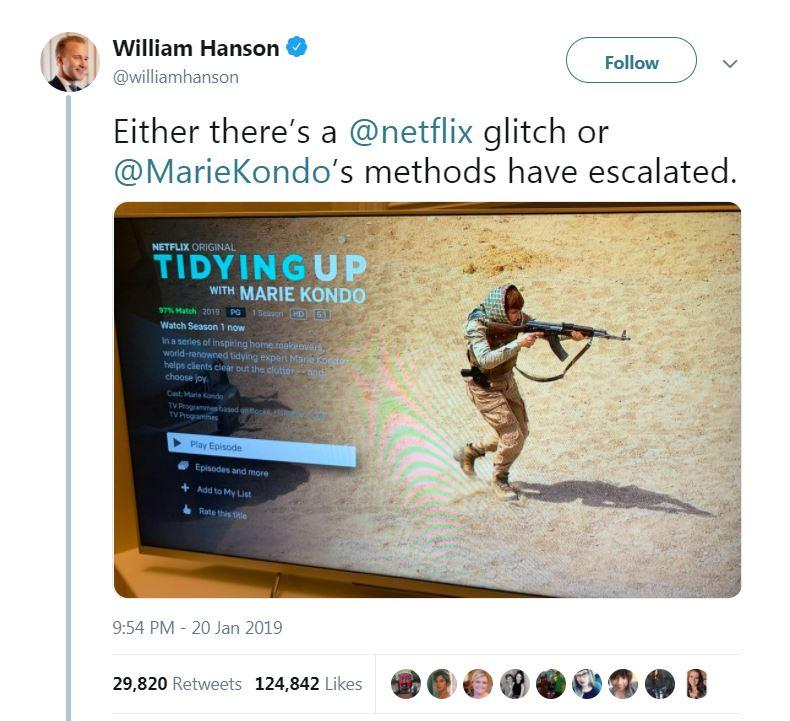 Netflix appeared to use an image of an AK47-wielding gunman to promote 'Tidying Up with Marie Kondo'