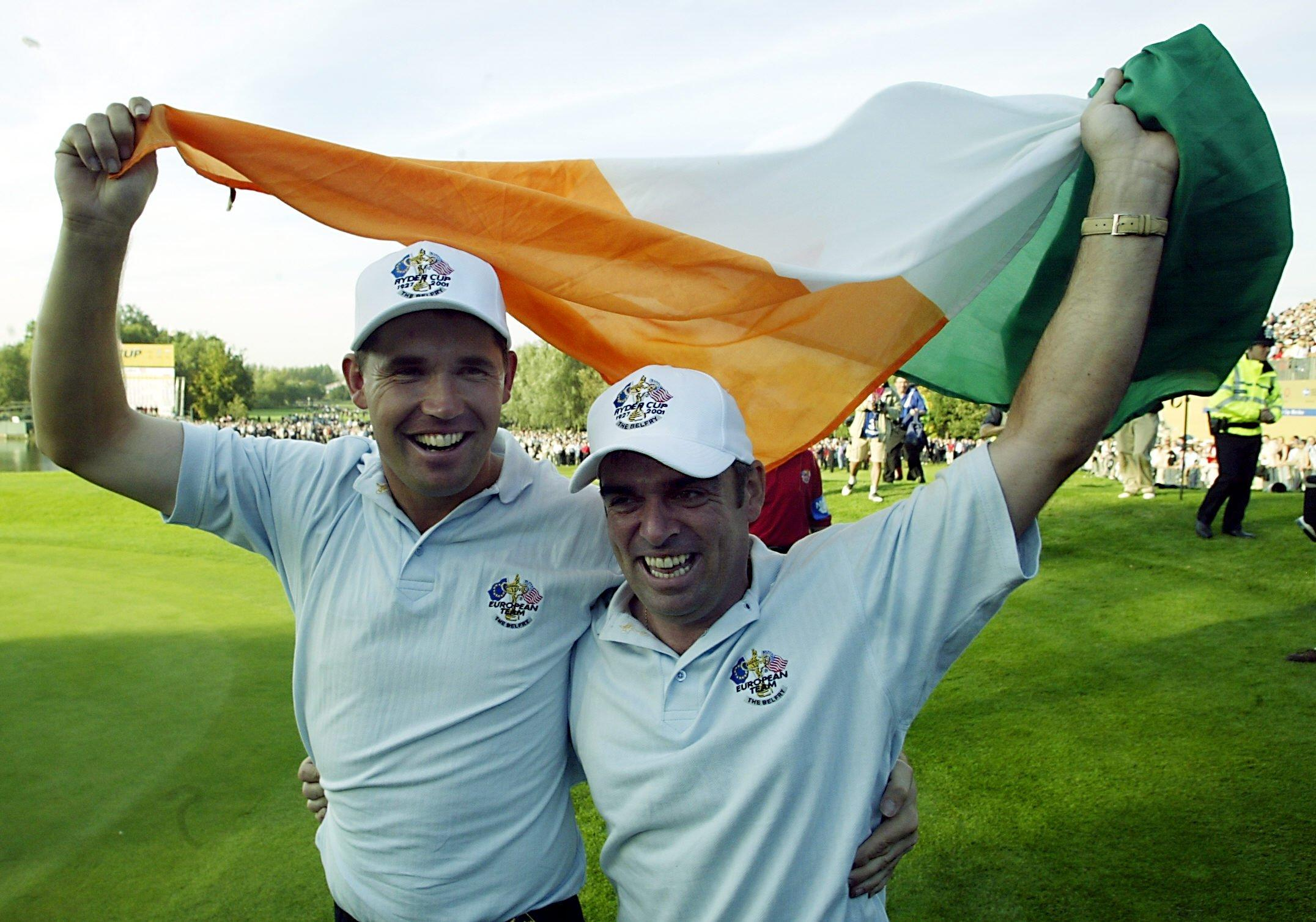 Padraig Harrington celebrates winning the 2002 Ryder Cup with his pal Paul McGinley