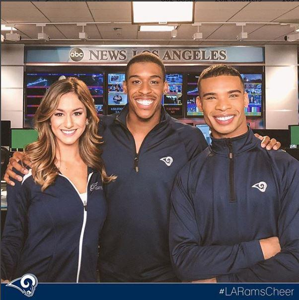 Next month's Super Bowl will make history as two male cheerleaders, Quinton Peron (middle) andNapoleon Jinnies (right)take to the pitch