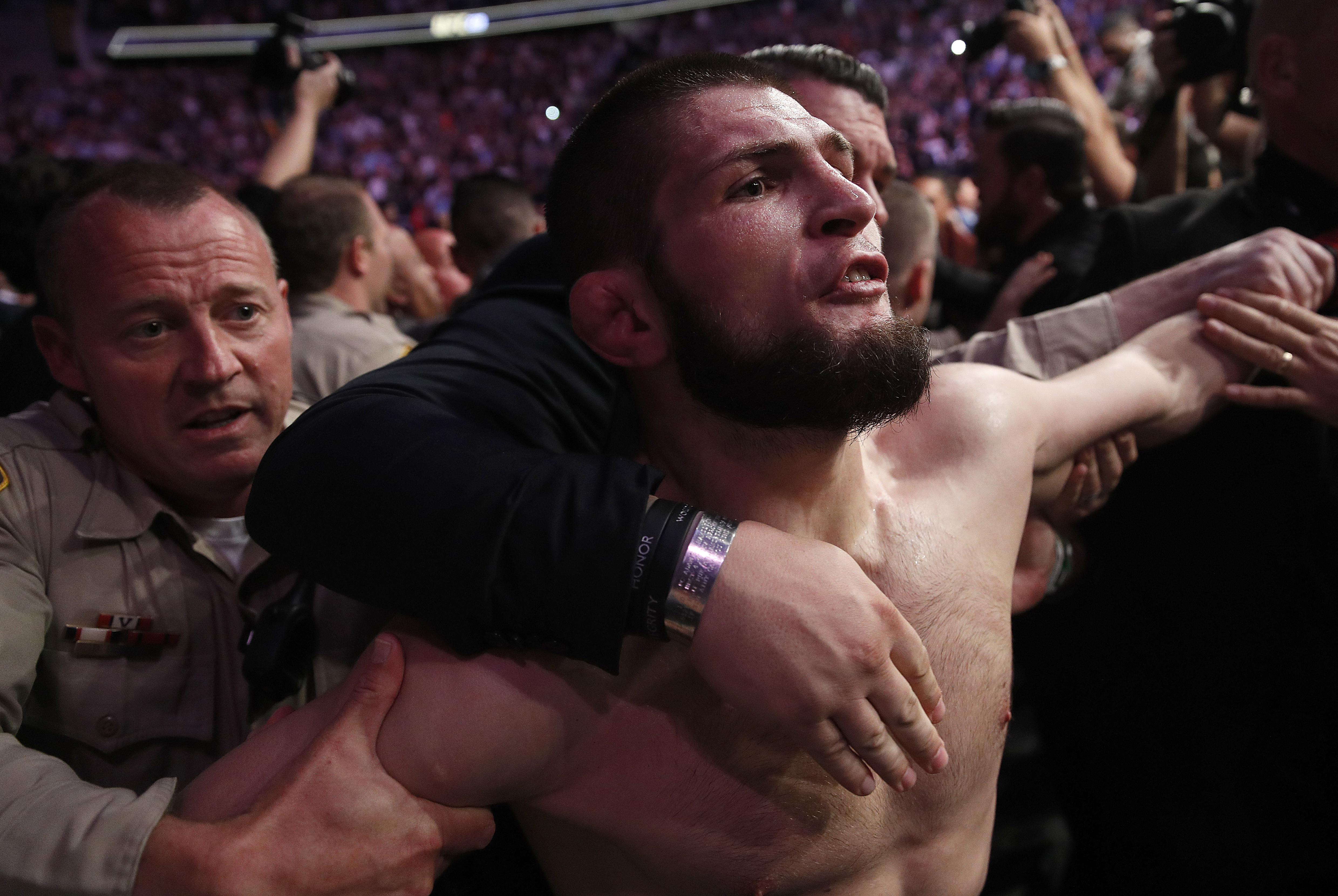 Khabib jumped into the crowd to attack members of the McGregor team after the fight