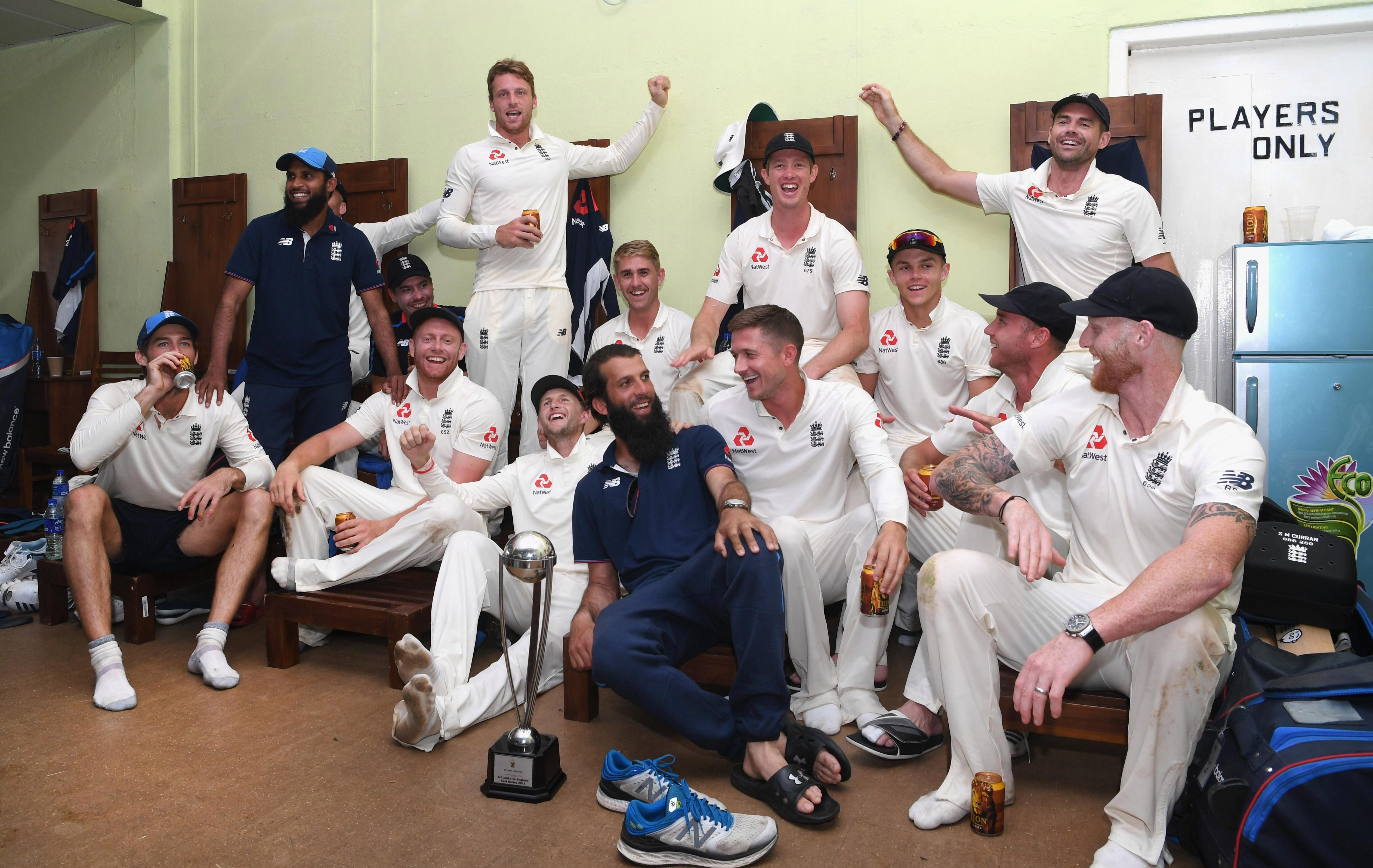 Englands players celebrate their historic win in Sri Lanka