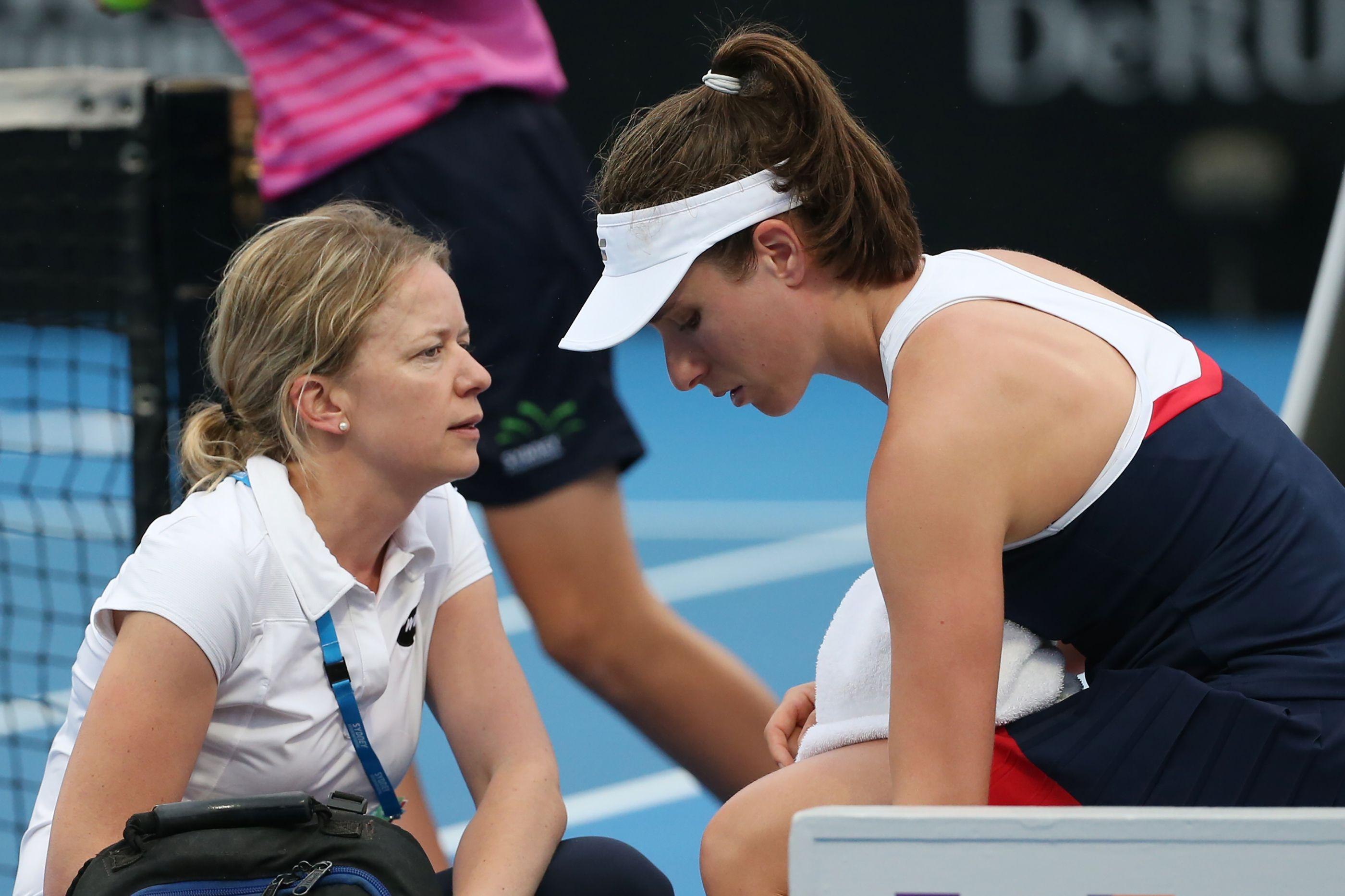 Johanna Konta was forced to retire from the Sydney International due to a neck injury