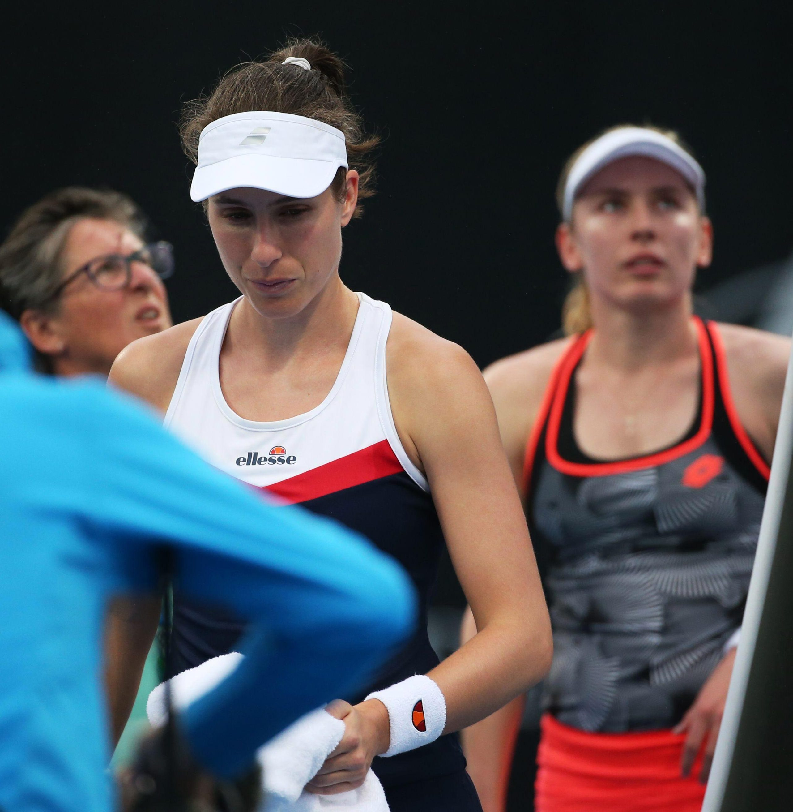 The Sydney-born Konta lasted just 18 minutes against Ekaterina Alexandrova and was trailing 4-1 in the opening set