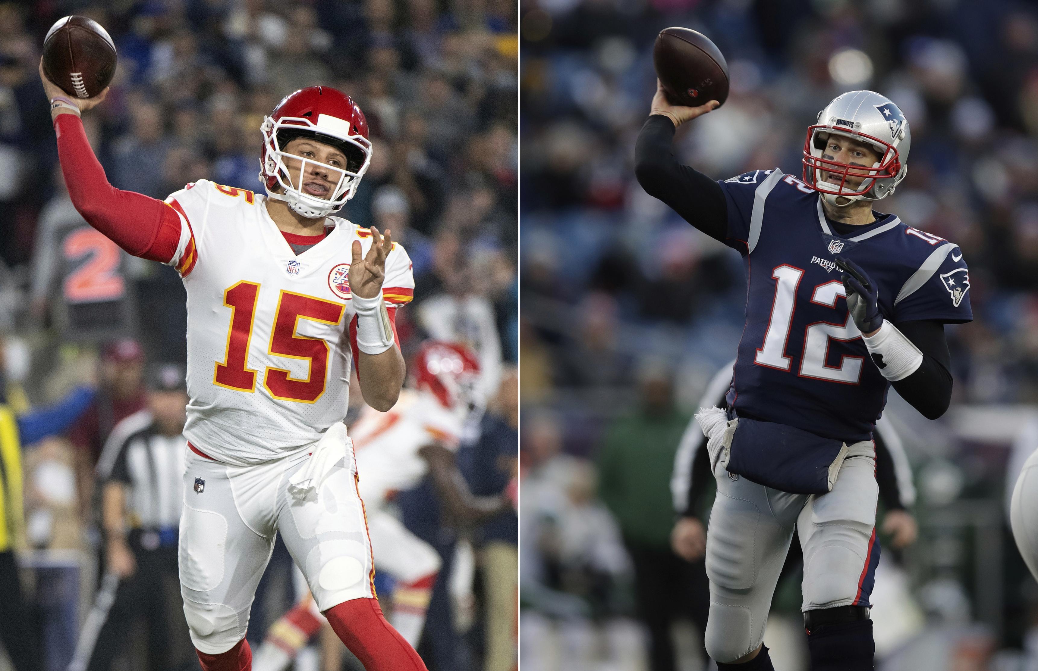 Patrick Mahomes (left) and Tom Brady (right) will be the battling quarterbacks on Sunday