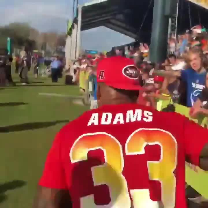 Adams turned and charge towards the New England Patriots mascot