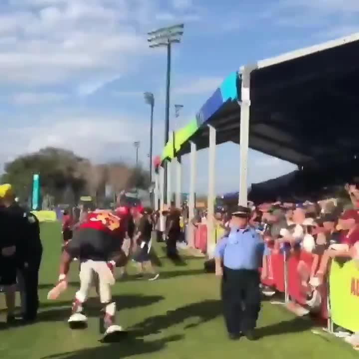 Jamal Adams launched himself at the mascot, flying into him at some speed