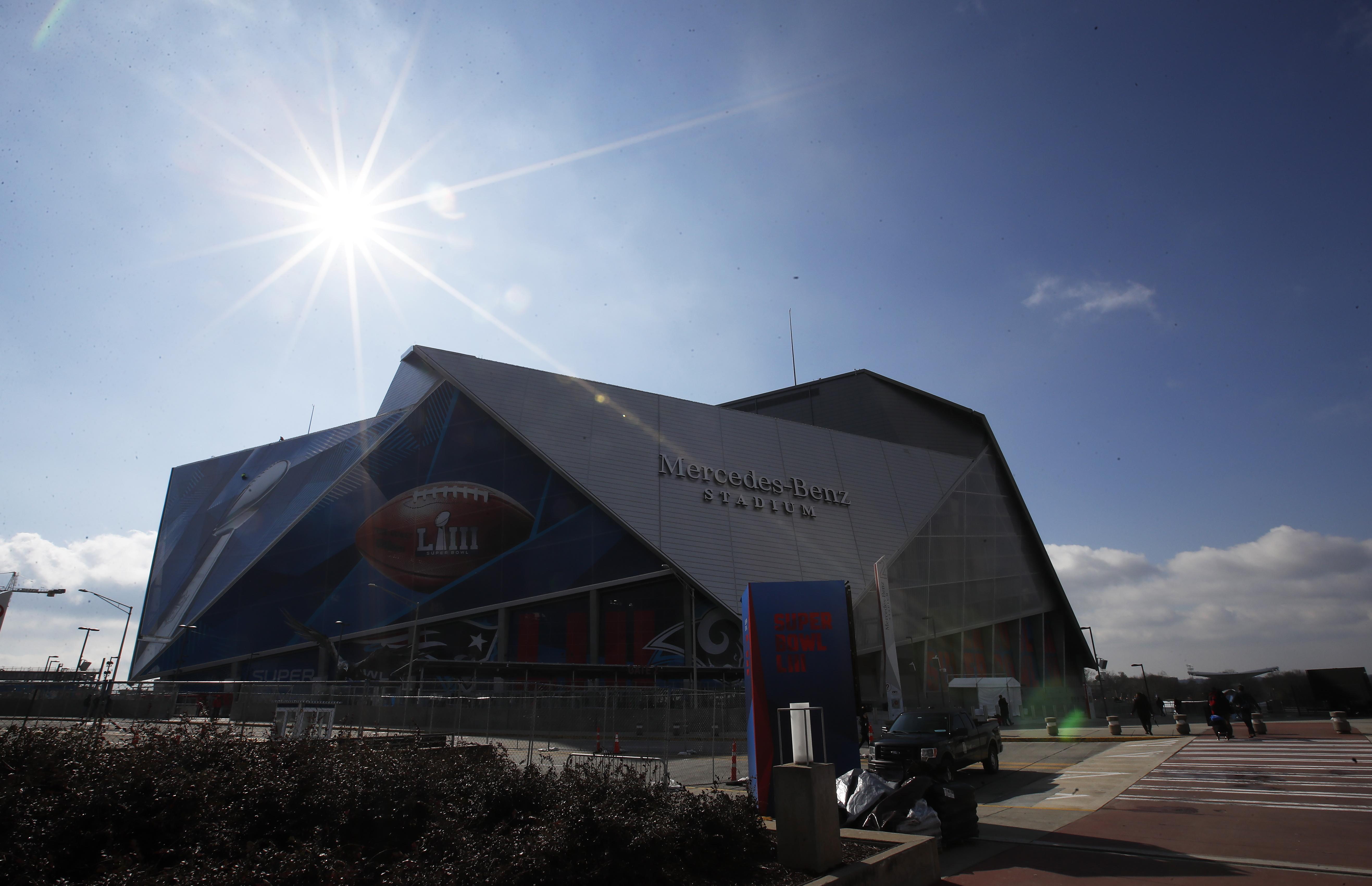 Mercedes Benz Stadium will host the Super Bowl on Sunday night