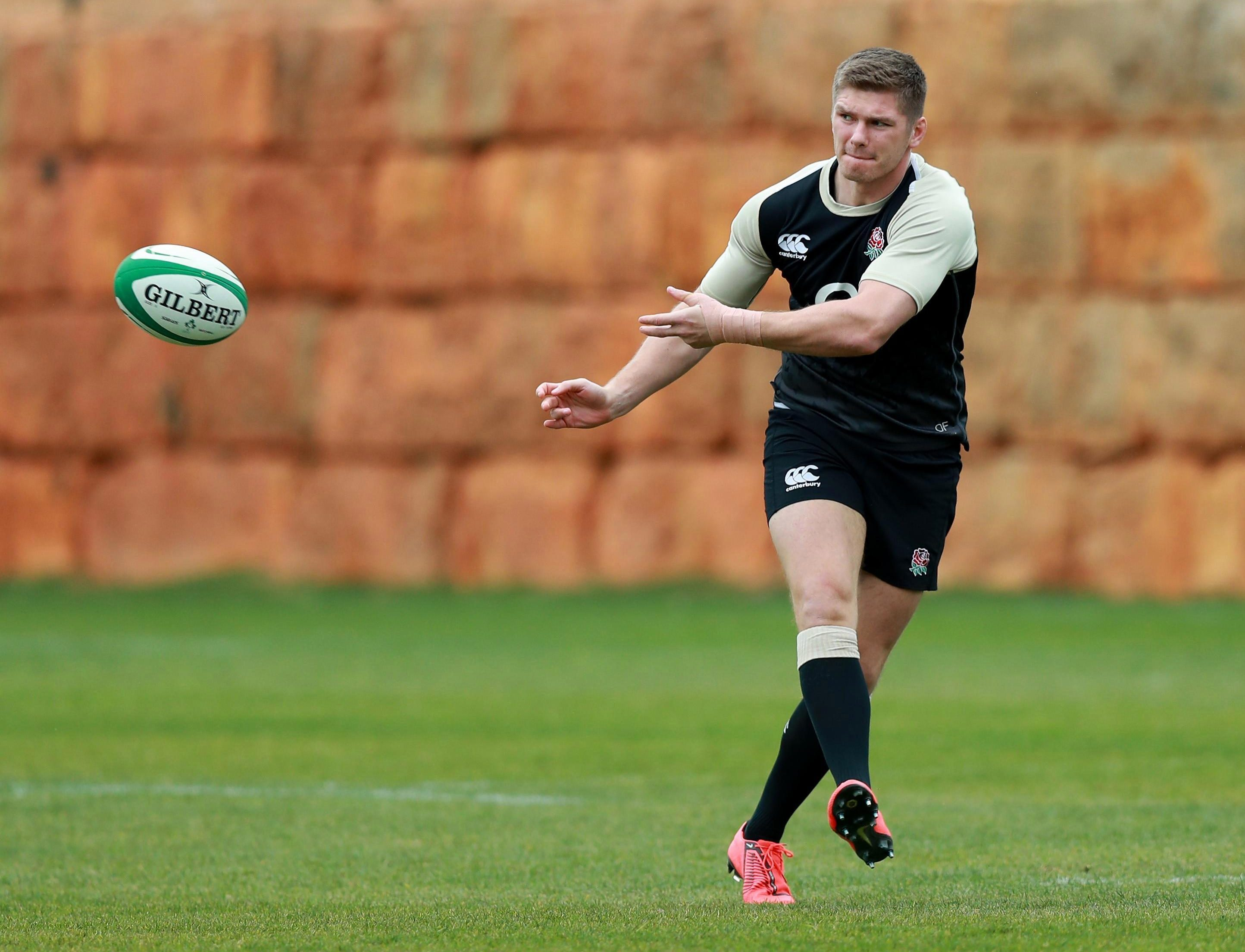 Owen Farrell has trained in Portugal after having surgery on his damaged thumb