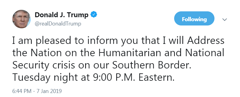 Trump will make an address to the nation tonight