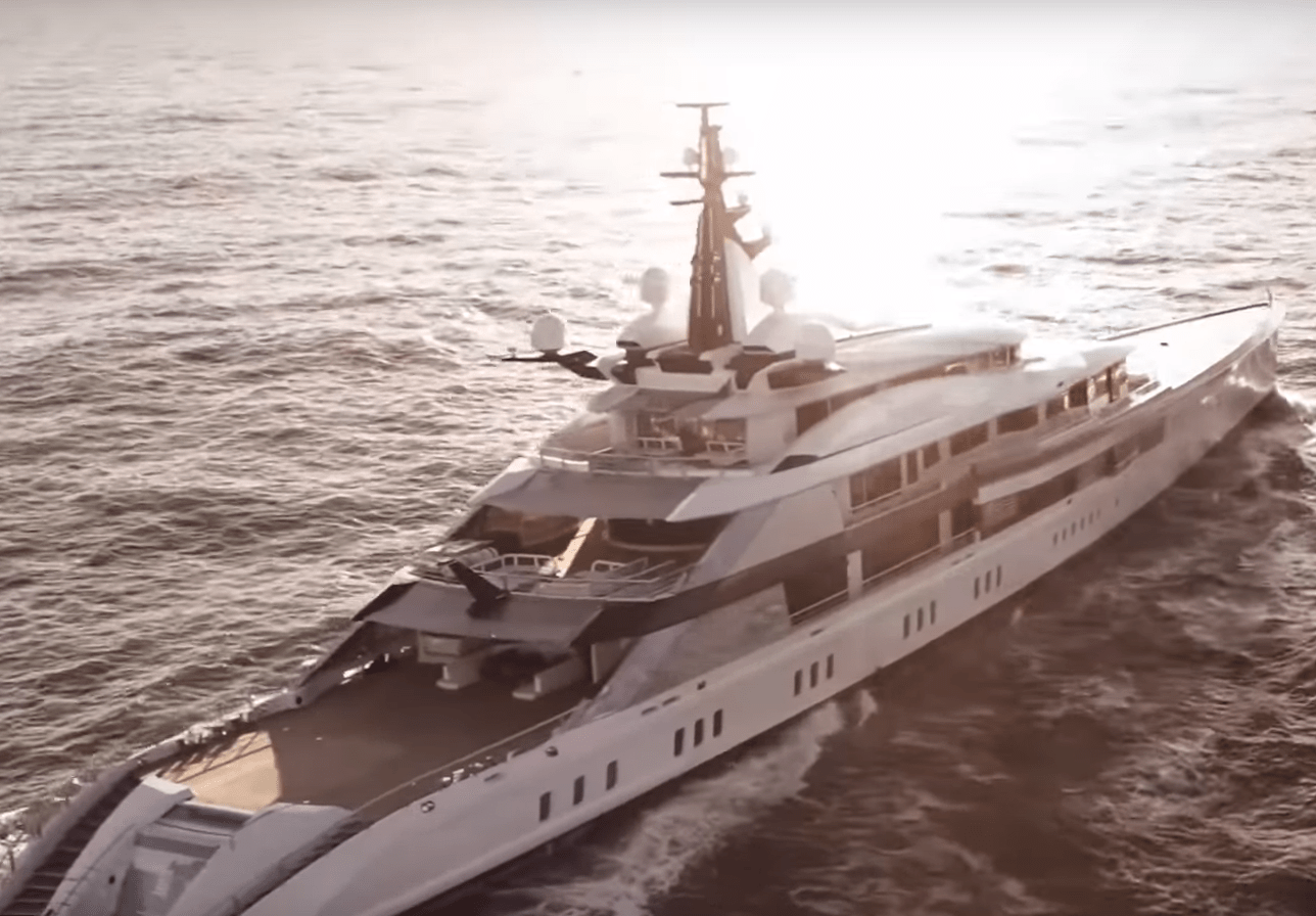 The yacht is longer than a football pitch and features two helipads