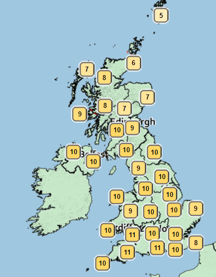 Temperatures will hit double figures across the country today