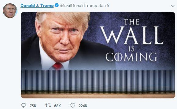 Trump channelled Game of Thrones in a post to say 'The Wall is Coming' earlier this week