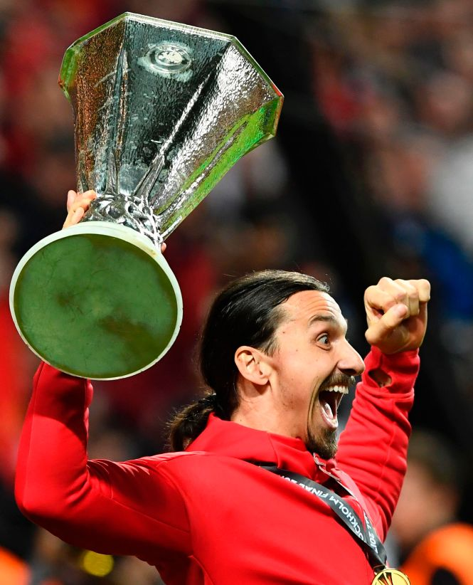 Ibrahimovic lifted the Europa League trophy at United but was injured for the final