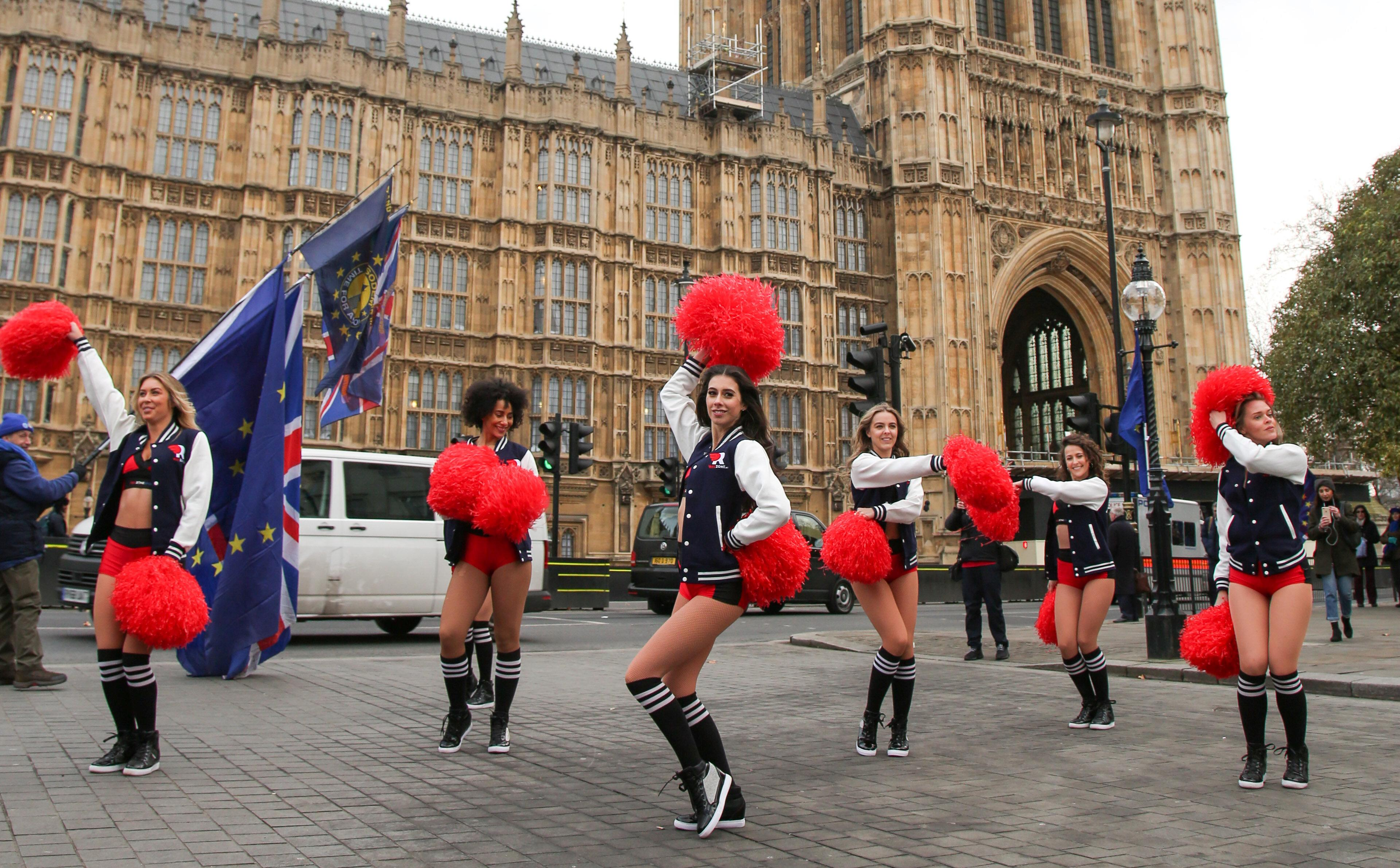 Cheerleaders performed in front of Parliament ahead of the Super Bowl