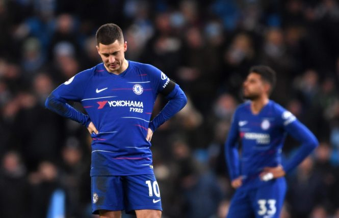 Eden Hazard is dejected after Chelsea's 6-0 thrashing at Manchester City
