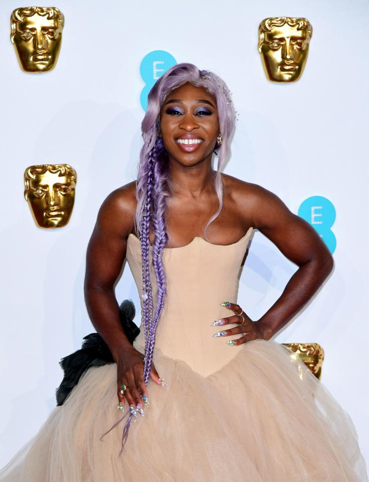 Cynthia Erivo's blonde locks at the Baftas 2019 also included a purple streak - a nod to her role in The Colour Purple