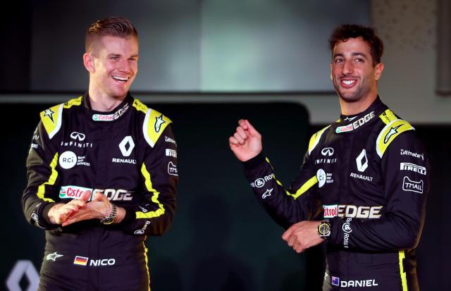 Ricciardo and new teammate Niko Hulkenberg at the team launch in Enstone