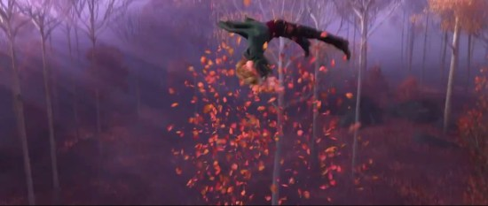 Some eagle-eyed viewers spotted a scene with an unknown character being blown upwards in a pile of leaves