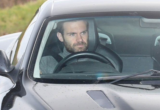 Juan Mata was spotted heading into the Aon Training Complex today