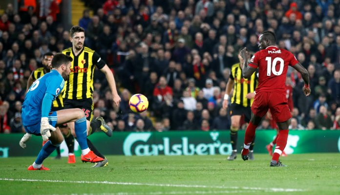 Sadio Mane pulled off an outrageous backheel finish to double his tally