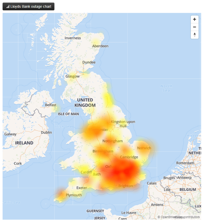 The majority of problems with Lloyds Bank seem to be in the south of England, according to Down Detector