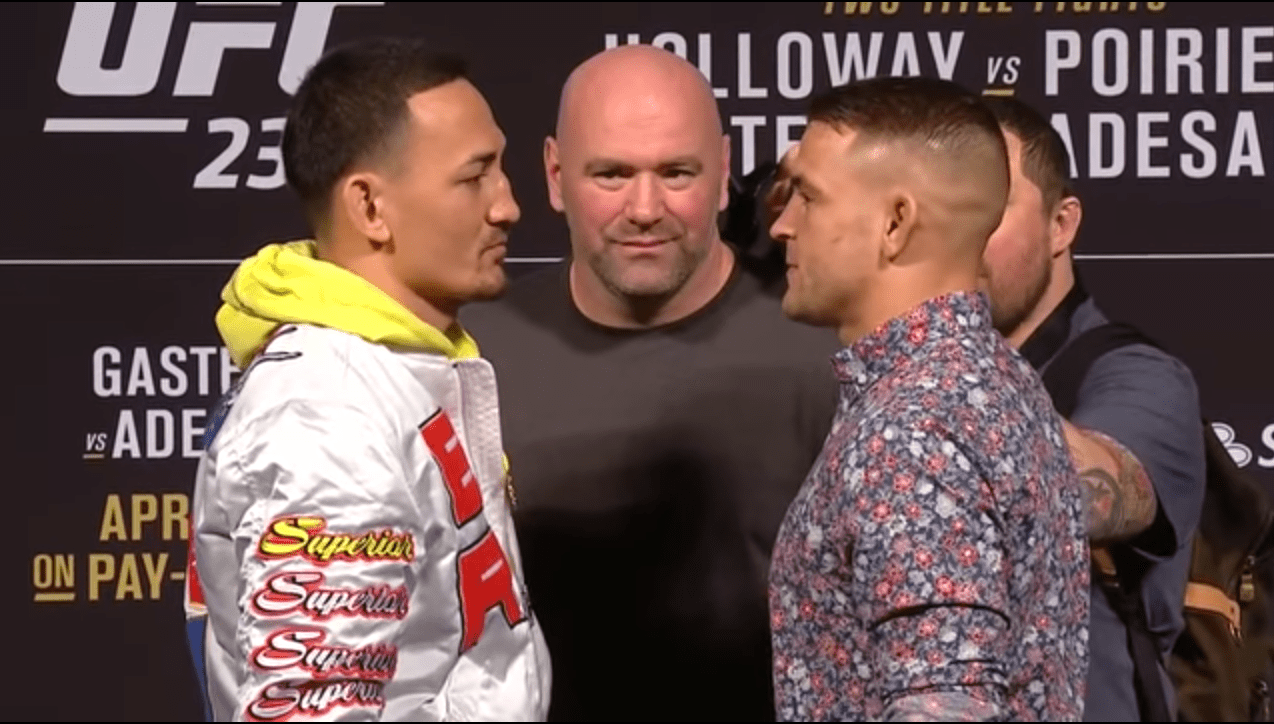Max Holloway and Dustin Poirier meet for the interim lightweight title, two opponents McGregor beat earlier in their careers