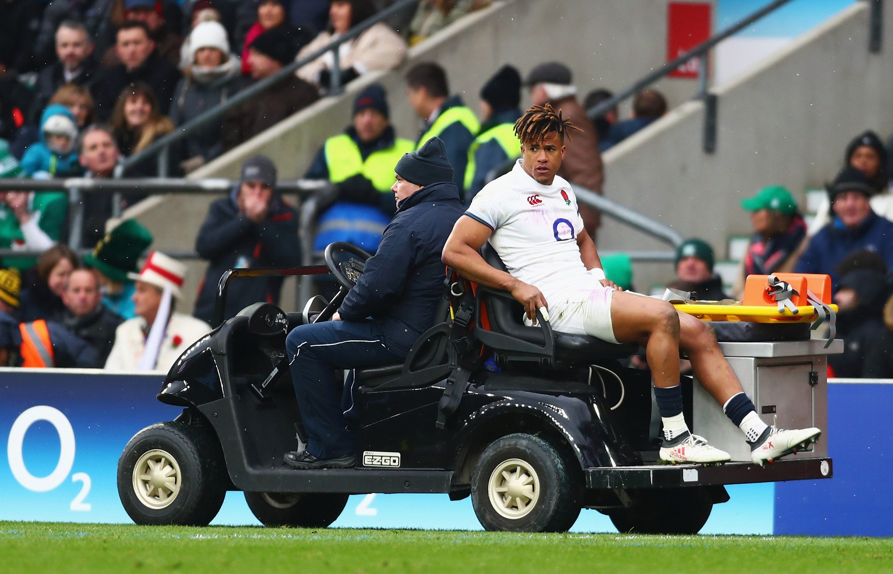 Anthony Watson is taken off during England's humiliating Six Nations loss to Ireland 12 months ago