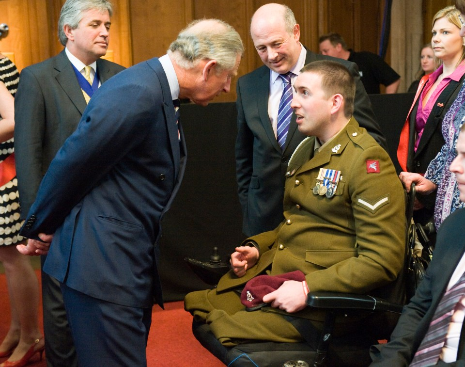 Prince Charles meets meets Ben at an ABF The Soldiers Charity event