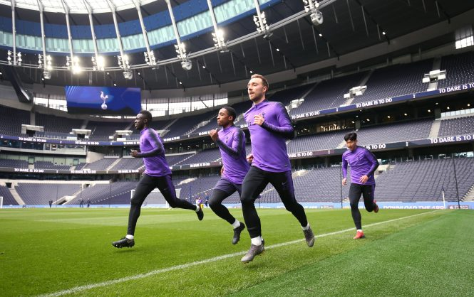 Tottenham stars get a feel for their new £850million home in training