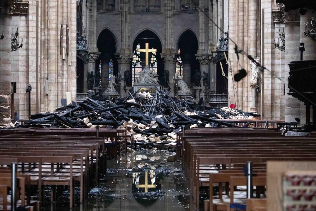 Fallen debris inside Notre Dame Cathedral after a devastating fire destroyed part of the landmark
