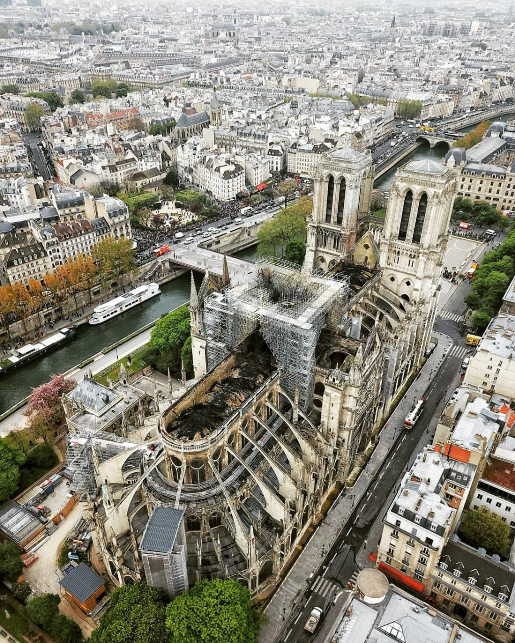 Aerial footage reveals the extent of the damage to Notre Dame's roof after the fire