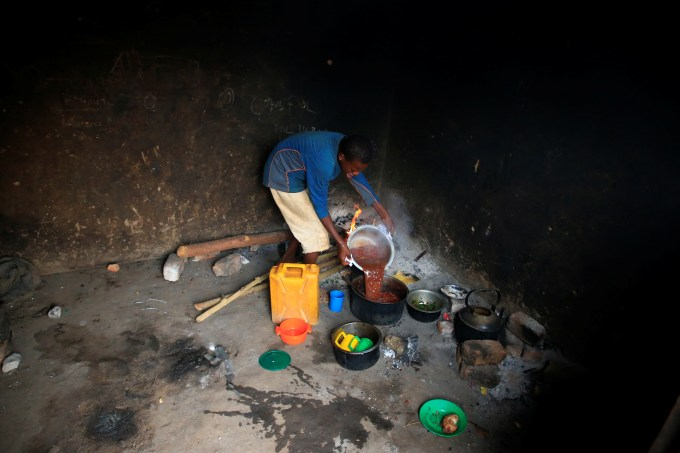 Her older children now help their mum out with cooking and chores where they can
