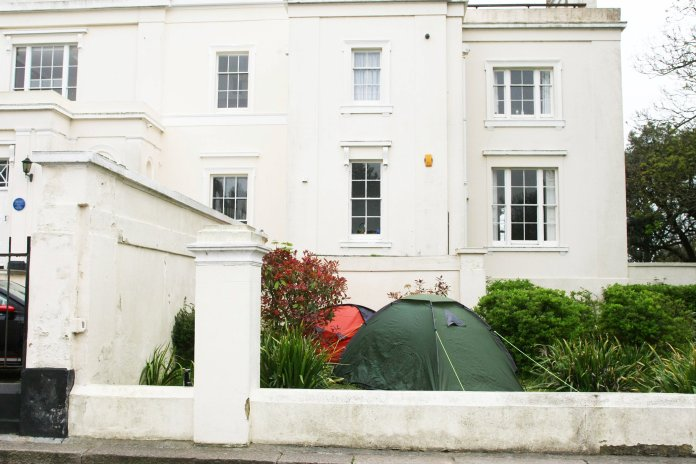 Tents sit outside the Grade II listed building in Worthing, West Sussex
