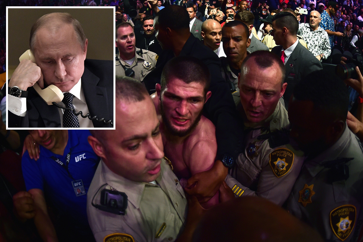 Vladimir Putin phoned the undefeated brawler after he was escorted back to his dressing room
