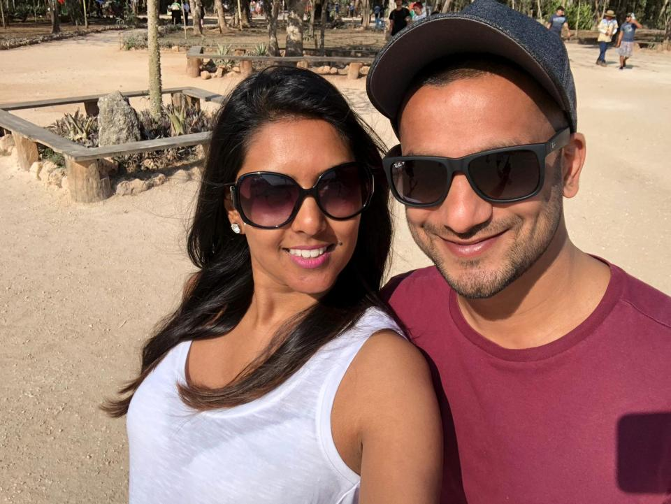 Usheila Patel and Khilan Chandaria on the beach