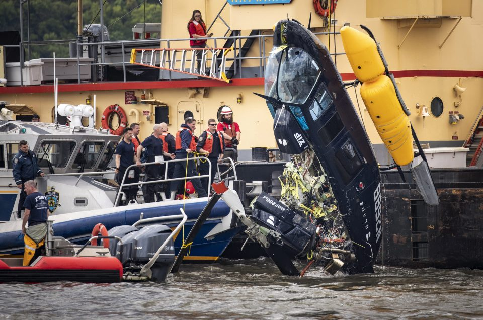 The Bell 206 helicopter was retrieved from the river after crashing into the water