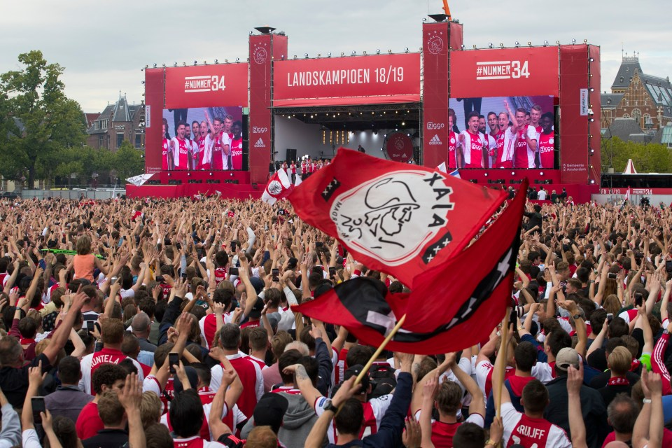 Ajax celebrated their 34th Eredivisie title with their fans in Amsterdam this afternoon