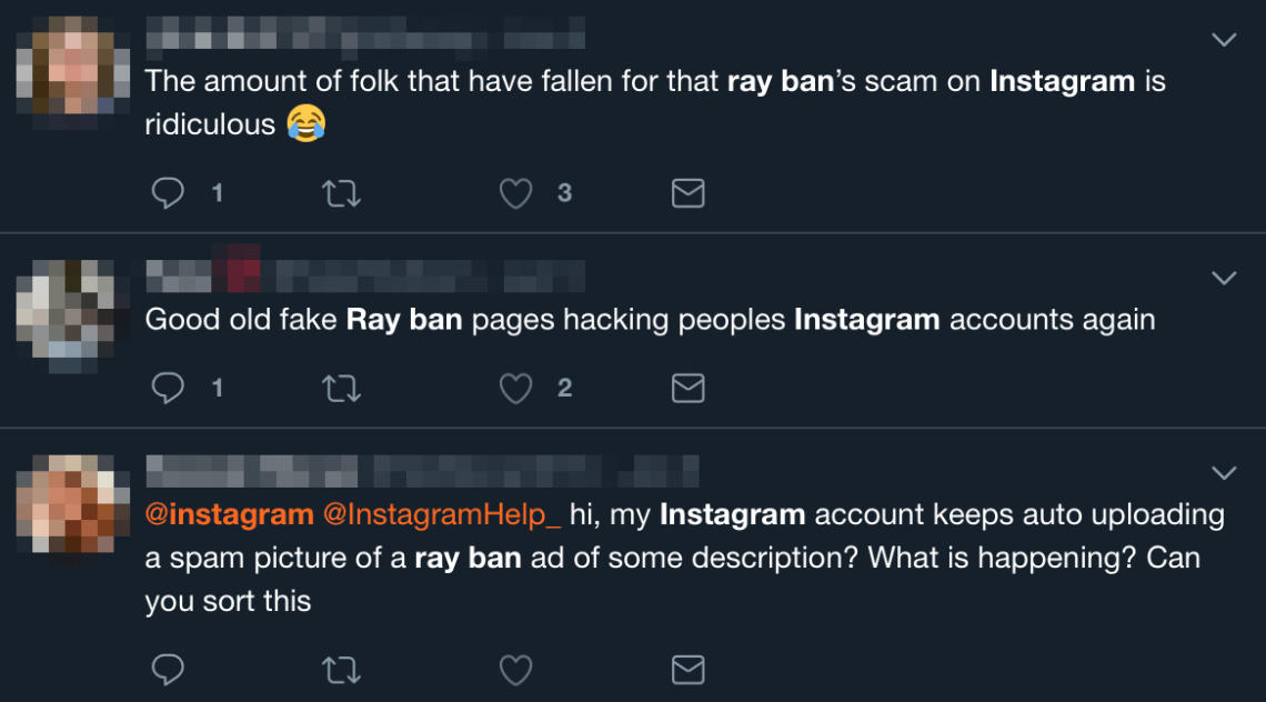 Dozens of users have complained about the dodgy posts on Twitter