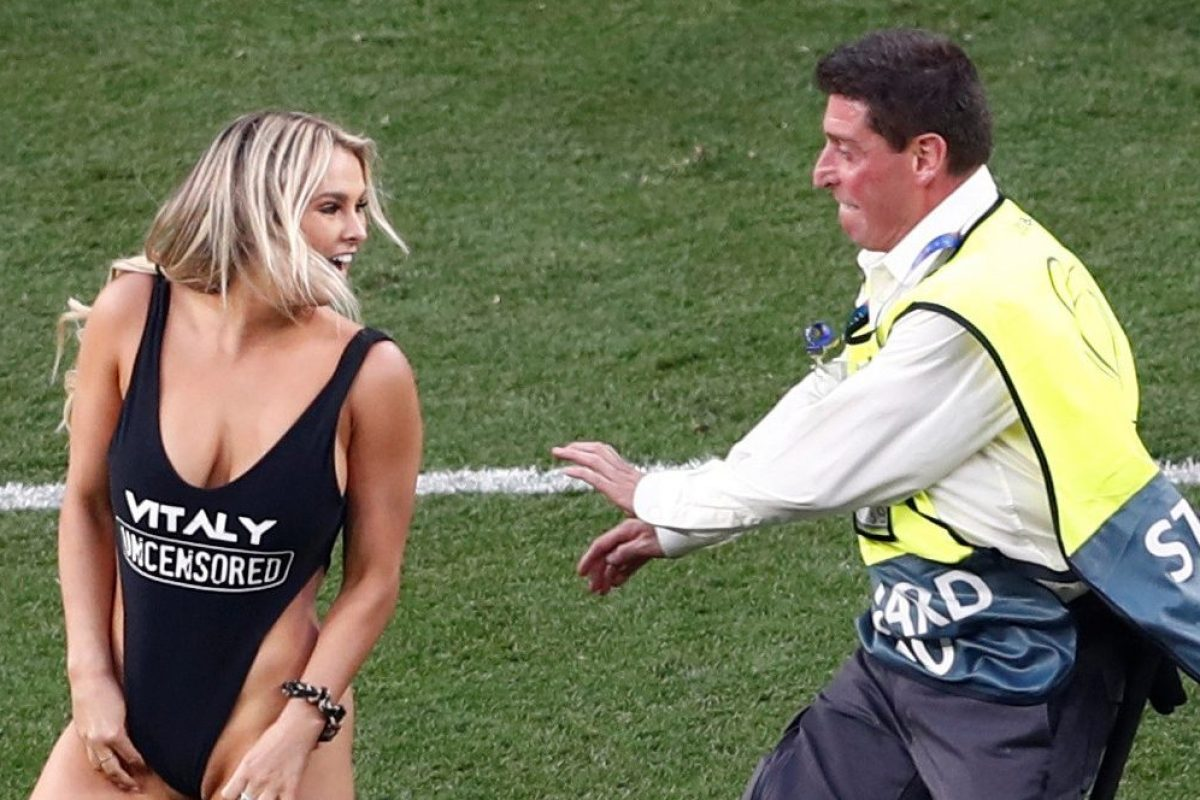 b4bfba9f6b9d8 Sexy female pitch invader at Champions League final promotes X-rated PORN  site Vitaly Uncensored which offers 'wild pranks, t*** and a**, no rules'