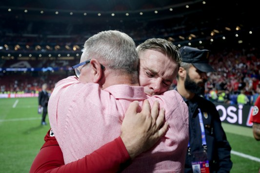 Jordan Henderson was in tears as he hugged his father Brian after the Champions League final in Madrid